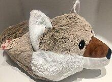 Luxuriöse GIANT braun Woodland Fox Slipper–luxuriösem doppelt Slipper–superweicher Woodland Fox Slipper–Tier Hausschuhe Neuheit Slipper–Großer Fußwärmer