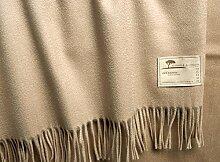 Luxuriöse Kaschmirdecke Perlmutt 130x190cm aus 100% Kaschmir mit Wasserglanz, Wolldecke in beige