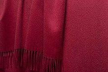Luxuriöse Kaschmirdecke Perlmutt 130x220cm aus 100% Kaschmir mit Wasserglanz, Wolldecke in ro