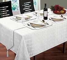 Luxuriöse moderne gewebtem Karo Jacquard weiß Tischdecke 132,1x 177,8cm & 4Servietten 4Tischsets