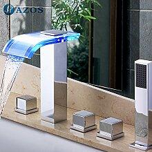 Luxurious shower Badewanne Armaturen LED Glas Wasserfall Auswurfkrümmerleuchte Bad Sauna 5 pc-Sets Duschkopf, Verteiler, zwei Griffe, Dusche Schlauch YGWJ 033
