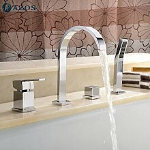 Luxurious shower Badewanne Dusche Armaturen Chrom polnischen Bad Sauna 4 pc-Sets Duschkopf, Verteiler, zwei Griffe, Dusche Schlauch, Wasserfall des Auswurfkrümmers YGWJ002