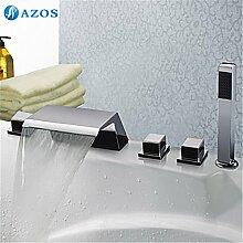 Luxurious shower Badewanne Dusche Armaturen Chrom polnischen Bad Sauna 5 pc-Sets Duschkopf, Verteiler, zwei Griffe, Dusche Schlauch, Wasserfall des Auswurfkrümmers YGWJ 022