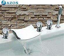 Luxurious shower Badewanne Dusche Armaturen Chrom polnischen Bad Sauna 5 pc-Sets Duschkopf, Verteiler, zwei Griffe, Dusche Schlauch, Wasserfall des Auswurfkrümmers YGWJ038
