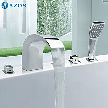 Luxurious shower Badewanne Dusche Armaturen Chrom polnischen Bad Sauna 5 pc-Sets Duschkopf, Verteiler, zwei Griffe, Dusche Schlauch, Wasserfall des Auswurfkrümmers YGWJ 024