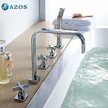 Luxurious shower Badewanne Dusche Armaturen Chrom polnischen Bad Sauna 5 pc-Sets Duschkopf, Verteiler, zwei Griffe, Dusche Schlauch, Wasserfall des Auswurfkrümmers YGWJ057