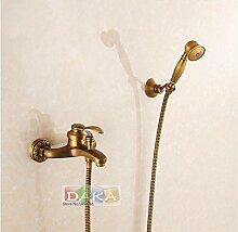 Luxurious shower Europa Design Messing antik Finish Haus Bau Badezimmer Dusche mit heißem und kaltem Wasser Hahn Set/Wandmontage Badewanne Armatur, Dunkelgrau