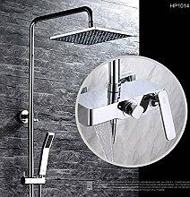 Luxurious shower HBP Badewanne Armatur mit Schieberegler an der Wand montierte Dusche Mischbatterie 1,5 m Schlauch 8 Zoll Square Duschkopf kalt warmes Wasser HP 1014