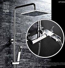 Luxurious shower HBP Badewanne Armatur mit Schieberegler an der Wand montierte Dusche Mischbatterie 1,5 m Schlauch 8 Zoll Duschkopf Square Wasser fallen Auswurfkrümmer HP1009