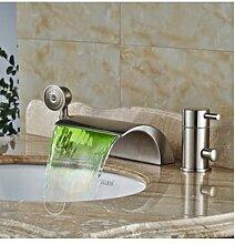 Luxurious shower Neues Design Wasserfall 3 pcs Badewanne Armatur Set + Ausziehbare Handbrause Nickel gebürstet Deck Mount 3 Bohrung, Multi