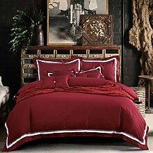 Luxury bettwäsche cover set mit 2 kissen shams european style bettwäsche, blau grau rot -D King