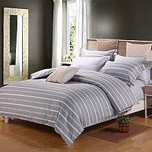 Luxury hotel quality bettwäsche cover set mit 2 kissen shams navy und weiß stripe lattice bettwäsche kollektion bettwäsche -Q Queen1
