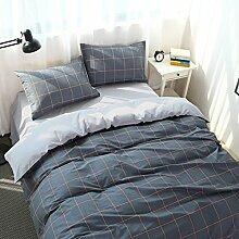 Luxury hotel quality bettwäsche cover set mit 2 kissen shams navy und weiß stripe lattice bettwäsche kollektion bettwäsche -A Queen1