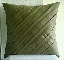 Luxury Olive Green Cushions Cover, Textured Pintucks Solid Color Throw Cushions Cover, 40x40 Cm Cushion Case, Square Faux Suede Cushions Cover, Striped Contemporary Cushion Cases - Contemporary Olive