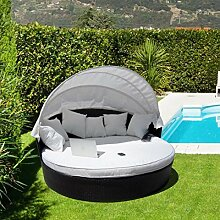 luxurygarden Garten Rattan Sofa Möbel Outdoor Sofa Liege Set Bett Terrasse Sonne Tag
