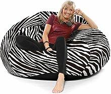 Luxus Animal Print Fauxveloursleder Extra Extra Große Goliath Sitzsack - Zebra