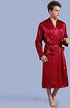 LUXUS Bademantel Herren-Schlafanzug Satin-Kragen voller Länge langärmelige leichte Bademantel Spa Hotel Pyjamas personalisierte Bademantel (Bademantel mehrfarbig) Erwachsene Schal Bademantel ( Color : Rot , Size : M )