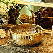 Luxus Badezimmer Garderobe Keramik Counter Top Gold Waschbecken Waschschüssel