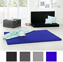 Luxus Doppel-Klappmatratze Gästebetthocker 140x195x6cm - klappbare Notbett als Faltmatratze blau