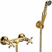 Luxus Dusche Armatur Nostalgie Retro Kreuzgriff Sanlingo Gold