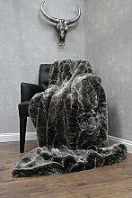 Luxus Fell-Decke Fellimitat Webpelz-Überwurf- Kuscheldecke-Wohndecke-Sofadecke-Hochflor 150x200cm Silber Fuchs