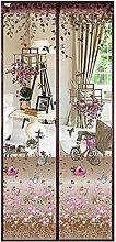 Luxus Fliegengitter Magnetvorhang für Türen aus Polyester mit Blumen Muster Moskitonetz Insektenschutz Türvorhang 90 x 210 CM (Kaffee)