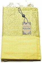 Luxus Fouta Hamam-Tuch mit Goldfäden (Lurex) 197 x 100cm XXL Extra Groß Pestemal aus 100% Baumwolle für Sauna, Bad, Strand-Tuch Bade-Tuch … (Gelb)