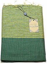 Luxus Fouta Hamam-Tuch mit Goldfäden (Lurex) 197 x 100cm XXL Extra Groß Pestemal aus 100% Baumwolle für Sauna, Bad, Strand-Tuch, Bade-Tuch … (Grün)