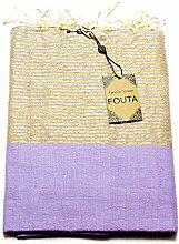 Luxus Fouta Hamamtuch mit Goldfäden (Lurex) 197 x 100cm XXL Extra Groß Pestemal aus 100% Baumwolle für Sauna, Bad, Strand-Tuch Bade-Tuch … (Violett)