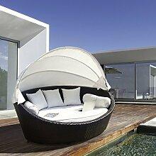 Luxus Garten Rattan Sofa Möbel Outdoor Sofa Lounger Set Himmelbett Terrasse Sonne Tag Basma