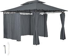 Luxus Gartenpavillon mit 6 Seitenteilen - anthrazit