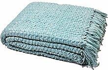 """Luxus Klobige Chenille Gestrickt Sofa / Bett Überwurf Decke - Wasser Hellblau, 127cm x 152cm (50"""" x 60"""")"""