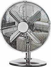 Luxus Metall Tischventilator Ventilator ca. 30cm Höhe 35cm 220V 35 Watt Hochglanzpoliert 3 Luftstufen SchwenkfunktionKühler Raum-Lüfter Luft-Erfrischer Lüftung