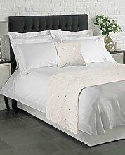 Luxus mit Samt Creme Kissen gefüllt 55,9cm und großer Bettläufer 70x 220cm