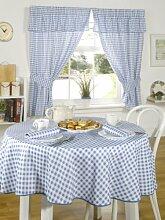 Luxus Molly Karomuster Vichy Tischdecke Blau 160 cm Rund