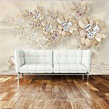 Luxus Schmuck Blume Schwan Tv Hintergrund Sofa Tapete 3D Stereo Benutzerdefinierte Wohnzimmer Schlafzimmer Tapete Wandbild 300X200Cm