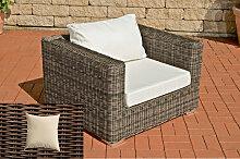 Luxus Sessel Barcelona-rund/braunmeliert-Cremeweiß