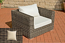 Luxus Sessel Barcelona rund/graumeliert-Cremeweiss