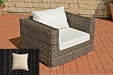 Luxus Sessel Barcelona-rund/schwarz-Cremeweiß