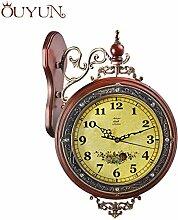 Luxus solide Wanduhr Vintage Double Face Wanduhr Silent Flip Clock Wand Holz Startseite Dekoration für Wohnzimmer, Braun