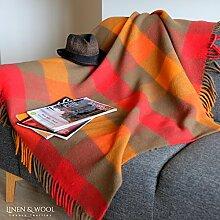 Luxus Stilvolle Decke, Tagesdecke, Wolldecke BOLIVIA - 100% Neuseeland-Wolle (130 x 170 cm) Rot/Braun
