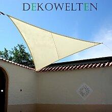LUXUS Terrassen Sonnensegel dreieck der ExtraKlasse 3,75m wasserdicht CREME Regenschutz Windschutz