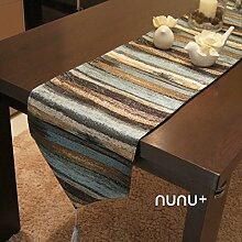 Luxus Tischfahne Mode Bettflagge Flagge Tischdecke Moderner Neoklassischer Modellraum Streifen Metallischer Glanz,Blue-32*240cm