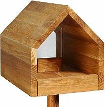 Luxus-Vogelhaus 46601e Eiche-Vogelfutterhaus mit Ständer, Satteldach, Futtertablett und Silo