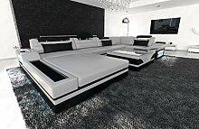 Luxus Wohnlandschaft Mezzo U-Form modernes Designersofa mit LED grau - schwarz
