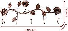 LUYION Vintage Rose Wandgarderobe Schmiedeeisen