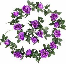 Luyue 2 Stück Vintage Künstliche Seide Rose Blume Efeu Blatt Ranke hängende Dekoration Girlande Hochzeitsdeko, violett, 2 pcs
