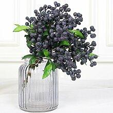 luyue 22,9cm Fake Berry Spray Aritificial Blueberry Fruits Craft Arrangement Zubehör Home Decor Set von 7 blau
