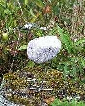 Luzie die Süße stehend Steinvogel bzw. Edelstahlvogel aus Edelstahl und Stein ein schöner Gartenvogel die besondere Art der Gartendeko ca. 20 cm