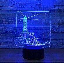lvabc Leuchtturm Modell 3D LED Nachtlicht 7 Farben